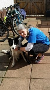 woman with border collie dog